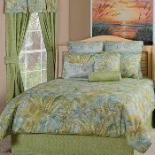 Green Brown Blue Bahamian Surf Comforter Cover Sets