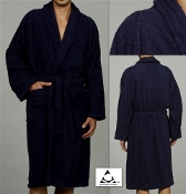 Navy Blue Unisex Terry Bath Robe