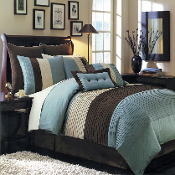 Blue Brown Ivory Hudson Luxury 12-Piece Bedding Set