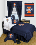 Illinois Fighting Illini Comforter Sheet Set Locker Room Bedding