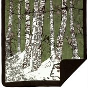 Green Birch Trees Blanket/Throw by Denali