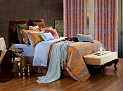 Hathor Blue/Gold 6 Piece Duvet Cover Set  Luxury Linen Bedding