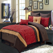 Red, Gold Chocolate Atlantis Comforter Set