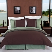 Sage/Chocolate Astrid Embroidered 7 Piece Duvet Cover Set