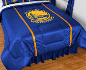 Logos are screenprinted in league-approved logos and colors. Sidelines comforters have 2 stripes on the top edges of the bed in the secondary team color, made of a porthole jersey.