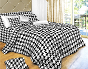 Houndstooth Check, Luxury 6 Piece 100% Cotton Duvet Cover Set,