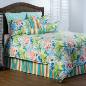 Island Breeze Coral Green Blue Bedding Collection