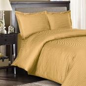 Gold Sateen Stripe 8 PC Duvet Cover Set 600 Thread count