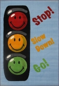 Smiley World Traffic Signal Blue Rug