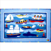 Olive Kids Boats and Bouys Printed Rug