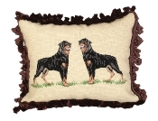 Rottweiler 16'' x 20'' Mixed-Stitch Needlepoint Pillow