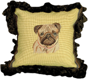 "Fawn Pug 12""x12"" Mixed-Stitch Throw Pillow"