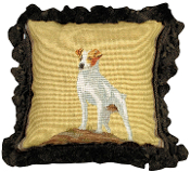 "Jack Russell 12""x12"" Mixed-Stitch Throw Pillow"