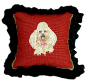 "Poodle 12""x12"" Mixed-Stitch Throw Pillow"