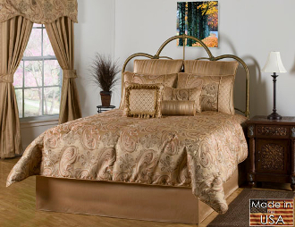 Paisley bedding in colors of gold, taupe and bronze