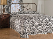 Black White Scroll Astor  Bedspread