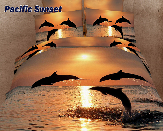 Transform your bedrooms energy with this spectacular animal themed bedding of adorable dolphins dancing in the pacific sunset scenery and crate a romantic bedding decor.