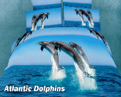 dorable dolphins dancing on the crystal blue ocean and set the perfect mood for your boys or girls bedding decor.
