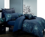 ibrant hues of inspired colors of jade & silver embroidery upon a deep navy base.. 100% cotton.. Machine wash. Imported.
