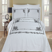 White Black Athena Embroidered 3PC Duvet cover Set