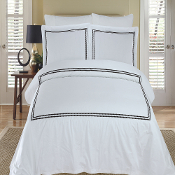 Black White Maya Embroidered 3 PC Duvet Cover Set