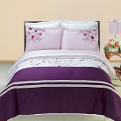 Cherry Embroidered 3 PC Duvet Set