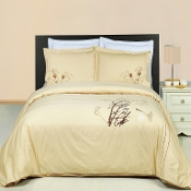 Katella Beige Embroidered 3-Piece Duvet Set