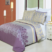 Brielle Mauve Tan Beige White Printed Multi-Piece Duvet Set