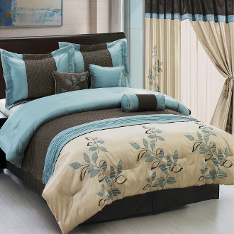 Pasadena Light Blue Metallic/Coffee 11 Piece Bed in a Bag