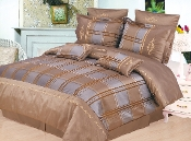 Taupe Blue Chocolate Gold Madison 7-Piece Duvet Cover Set