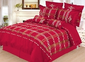 Burgundy, Red, Gold, White Madison 7-Piece Duvet Cover Set,