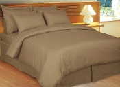 Taupe Stripe Sateen Stripe Duvet Cover 8 PC Set