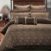 Janet Charcoal Brown Beige 9PC Duvet Cover Set