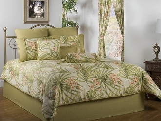 Sea Island Floral Red/White Green Bedding