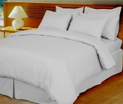 White  Damask Stripe, Down Alternative 4-PC Comforter Set,