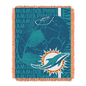 "Miami Dolphins NFL Triple Woven Jacquard Throw (Double Play) (48""x60"")"
