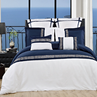 Navy/White Astrid Embroidered 7 Piece Duvet Cover Set