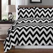 Black White Chevron Duvet Cover Set