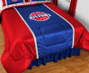 Logos are screenprinted in league-approved logos and colors. Sidelines comforters have 2 stripes on the top edges of the bed in the secondary team color, made of a porthole jersey