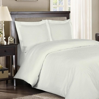 Ivory Sateen Stripe 8 PC Duvet Cover Set 600 Thread count