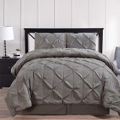Gray Oxford Double Needle Soft Pinch Pleated Comforter Set