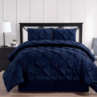 Navy Oxford Double Needle Soft Pinch Pleated Comforter Set